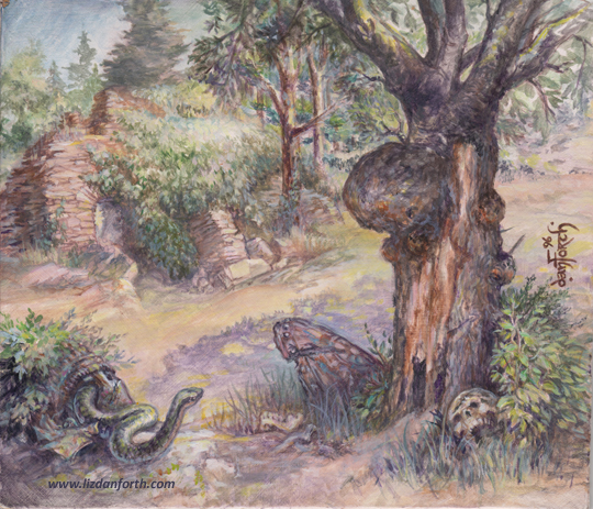 Magic the Gathering, MtG, card art, painting, Germany, tree, ruins, medieval