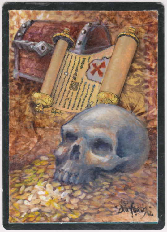 painting, scroll, pirate, pirate map, skull, magic the gathering