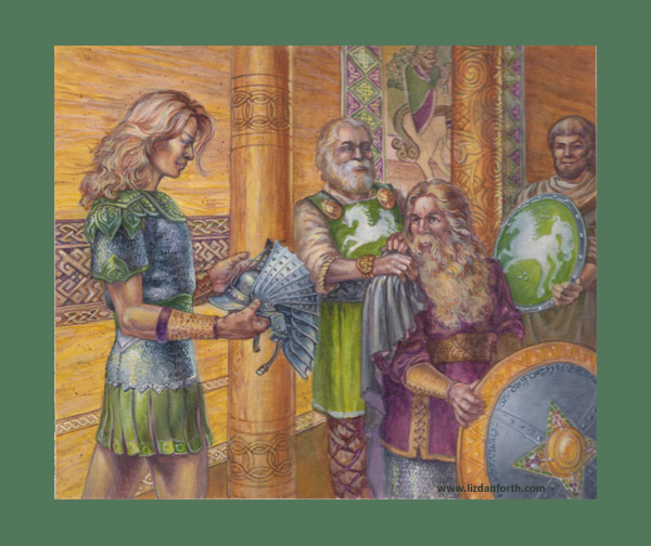 Legolas, Gimli, Theoden, Théoden, Tolkien, Middle Earth, Iron Crown, card, original painting, original art, fantasy, art, painting