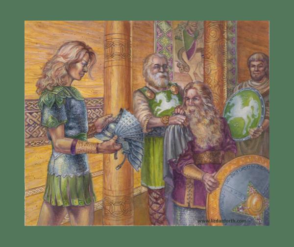 Legolas, Gimli, Theoden, Théoden, Tolkien, Middle Earth, Iron Crown, card, original painting, original art, fantasy, art, painting
