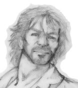 original pencil art sketch, detail of head