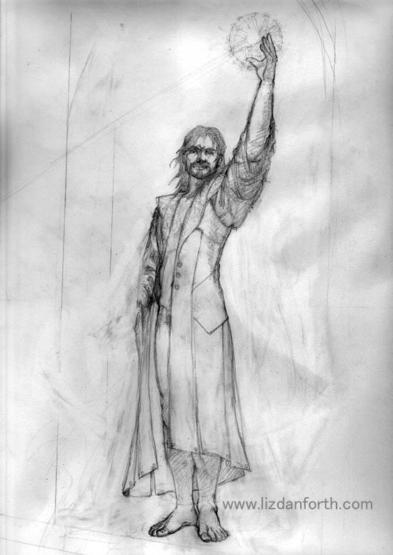 original pencil sketch of Winter, waiting up