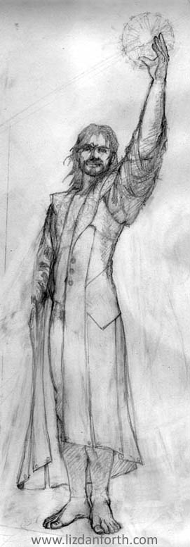 Winter, Waiting Up -- original pencil sketch