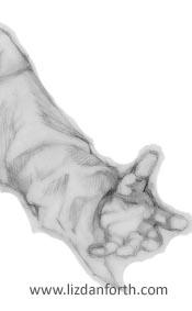 Original pencil art sketch, detail of hand