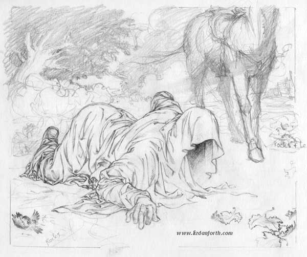 """The final painting of """"Catch an Elusive Scent"""" was done from this sketch."""