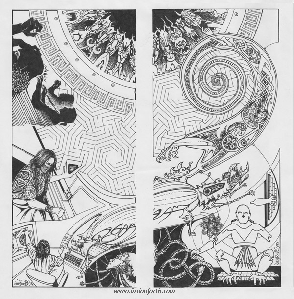cyberspace, Shadowrun, original art, original illustration, inkwork, diptych, surreal, graphic art, bugs, Haida, Celtic, knotwork