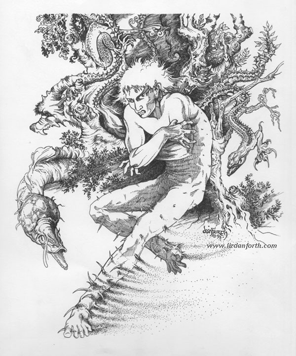 Ink drawing of an elf surrounded by monsters, undergoing some kind of painful transformation.