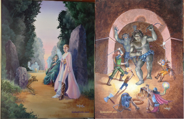 Full sized paintings for Elven Lords and the cover painted for Tunnels & Trolls (7th edition)