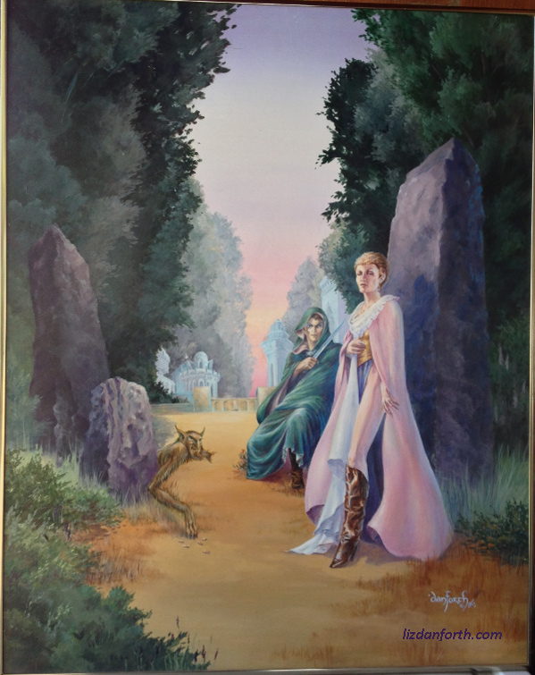 The elements of this painting were deliberately ambiguous. Is the man a threat or a guardian? The little forest creature with his bone dice... what is that about? The coarse standing stones contrast sharply with the elaborate architecture behind them... why? So many questions.