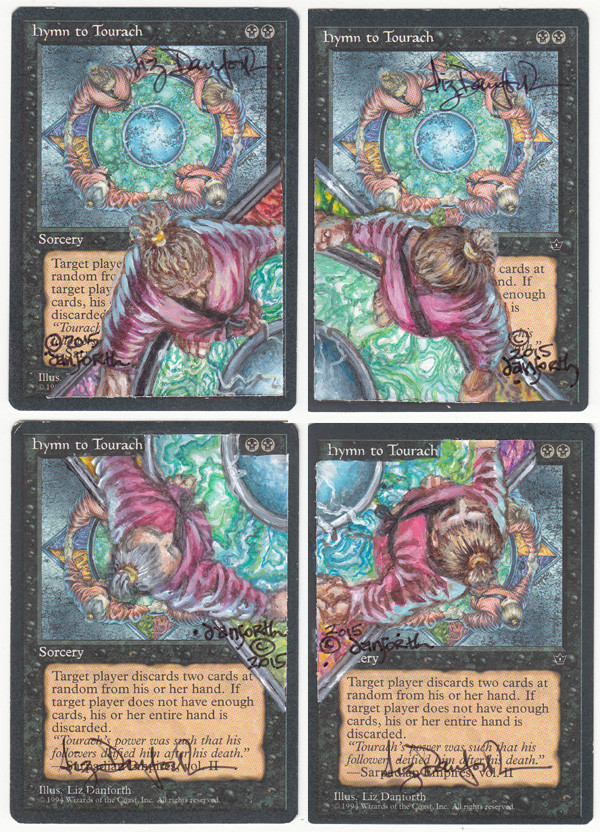 Hymn to Tourach, cards, original art, card alteration, Magic, Magic the Gathering, MtG