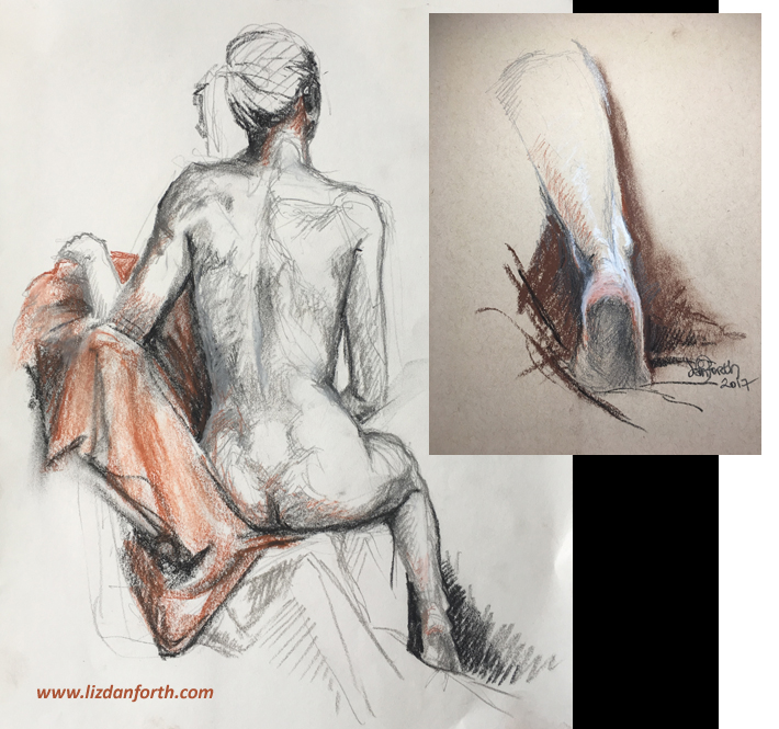 sketch, original art, Conte, drawing, female, model, life drawing, ankle, study