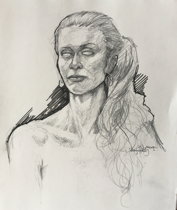 woman, model, life drawing, sketch, original art