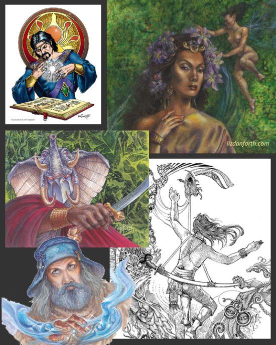 original art, painting, mage, magician, Tunnels & Trolls, beautiful, wizard, elephant, Iron Crown, MERP, ccgs, inkwork, illlustration, elegant, fairy