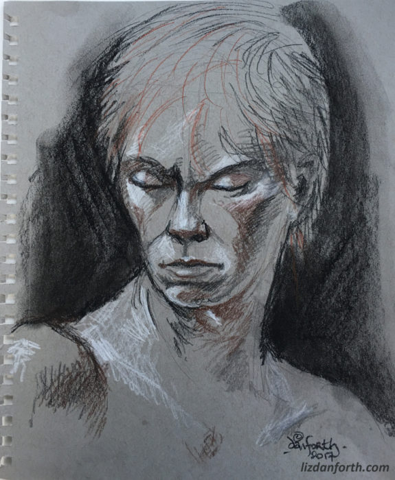 androgynous, elf, elfin, life drawing, Conte, sketch, original art