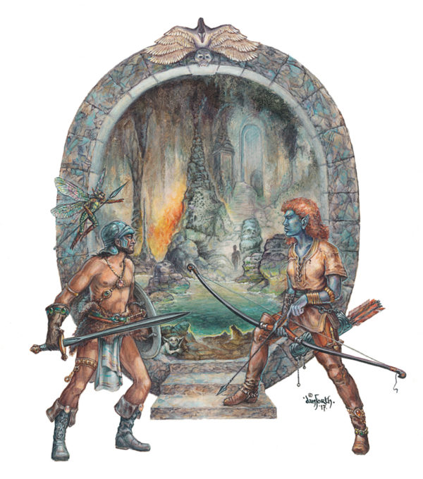 Fantasy adventurers standing before stone gate into cavern