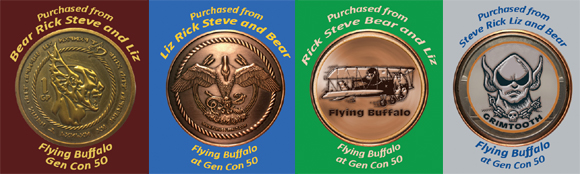 "stickers, coins, ""purchased from Flying Buffalo at Gen Con 50"""
