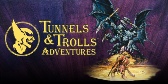 "Fantasy art, monster fighting warrior, logo ""Tunnels & Trolls Adventures"""