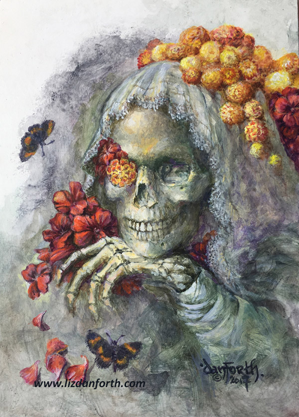 Painting of folklore figure La Muerta, a skeletal bride surrounded by nasturtiums and marigolds.