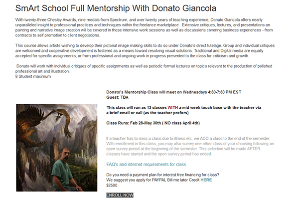 A page of mostly text describing the SmART School Mentorship with Donato Giancola, and a picture of Donato against one of his Middle Earth paintings.