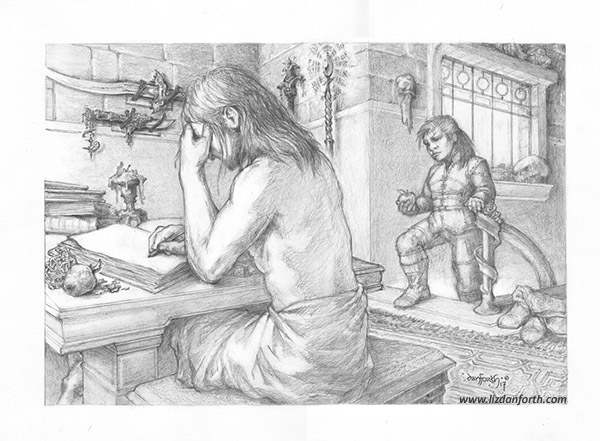 A graphic drawing of a man sitting barechested at a table, writing, while a dwarvish woman brings him an apple. Medieval-style weapons and magic staffs hang on the wall.
