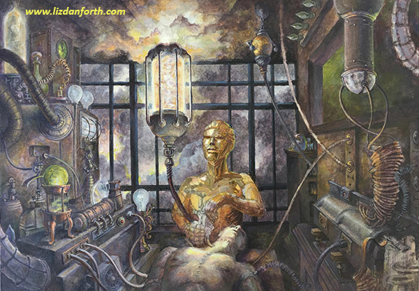 "Painting of a golden-metallic ""Dr Frankenstein"" building a human in a steampunk-like laboratory while a storm rages out the window."