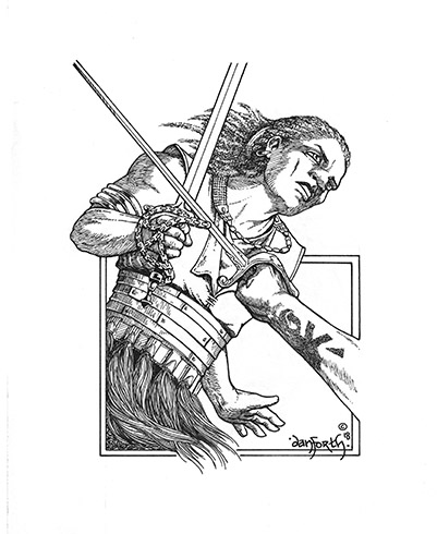 An ethnic fantasy warrior in armor uses their sword to parry an attacker's blade. The attacker's arm comes from off-screen and their forearm has an unusual tattoo.
