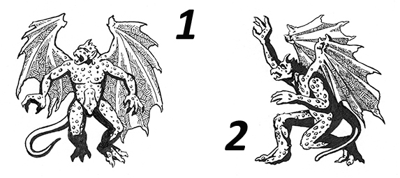 Two numbered ink drawings of gargoyles on a blank background.