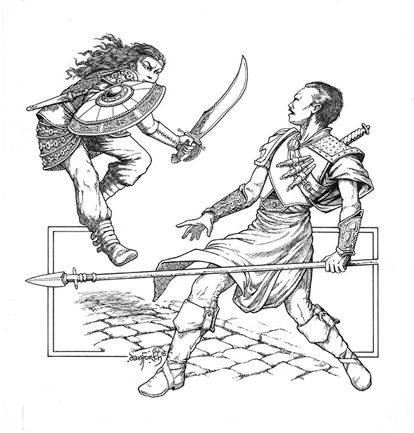 An armored woman with shield and short sword leaps on a surprised man holding a spear.